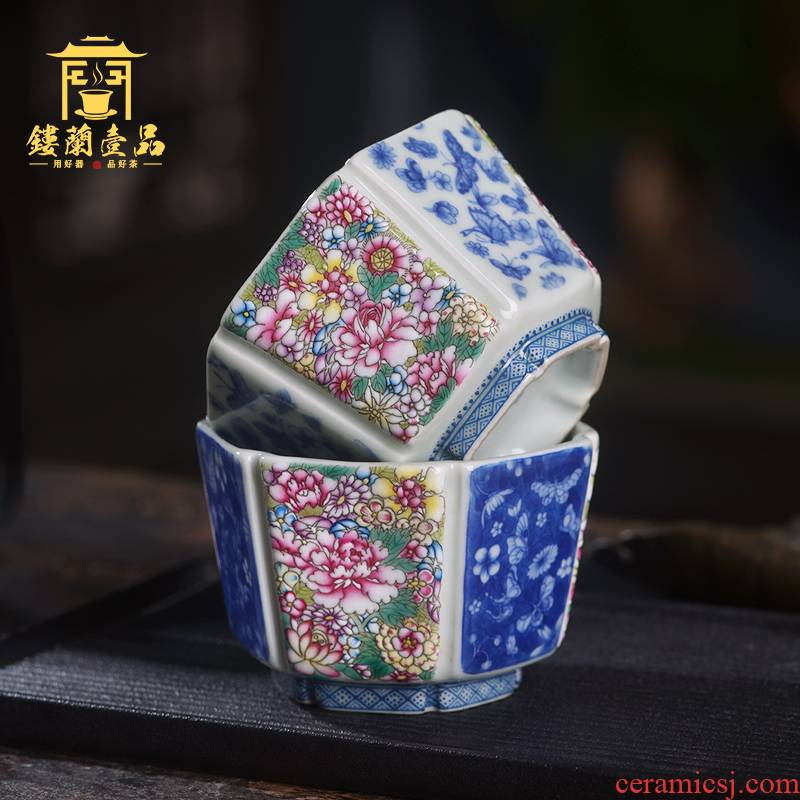 Arborist benevolence flower recent six - party cup of jingdezhen ceramic hand - made all single CPU kung fu tea set personal master CPU