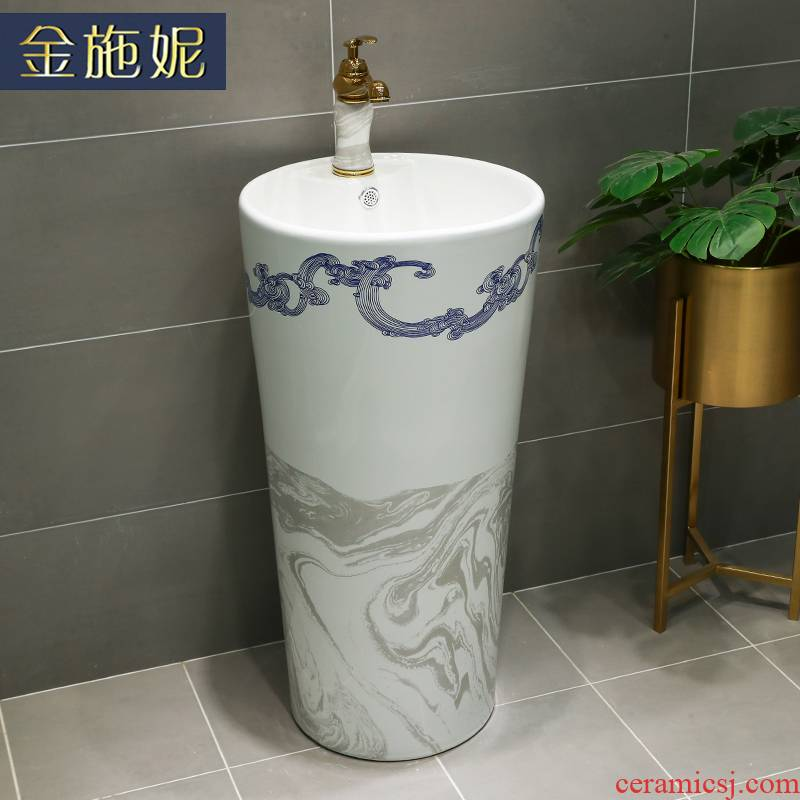 Gold cellnique one - piece I and contracted basin cylindrical small family ceramic column washing basin basin legend hotel