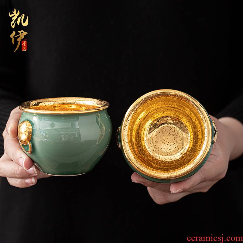 Celadon gold cup master cup size master cup lion cup graven images cup ceramic sample tea cup kung fu personal cup