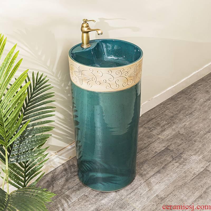 Ceramic lavatory basin balcony floor pillar lavabo toilet basin of is suing household one column 6