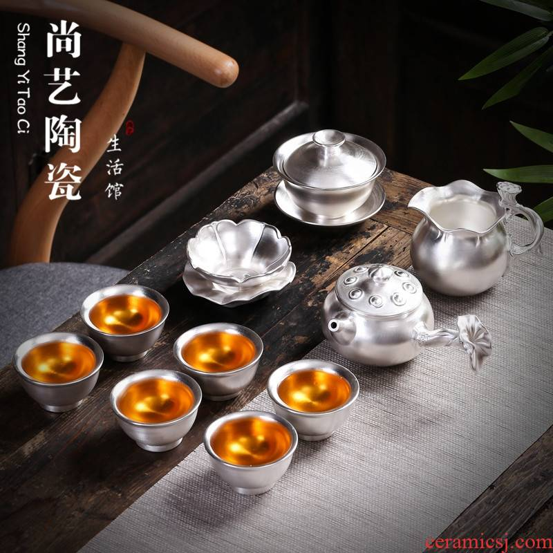 999 sterling silver, silver kung fu tea set coppering. As silver cups of a complete set of household ceramic lid bowl tea gift box