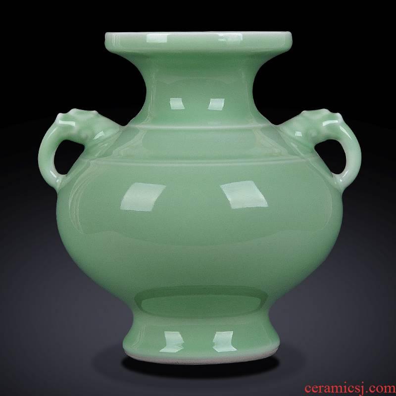 Jingdezhen ceramics antique hand shadow blue bottle of flower arranging rich ancient frame wine sitting room adornment home furnishing articles