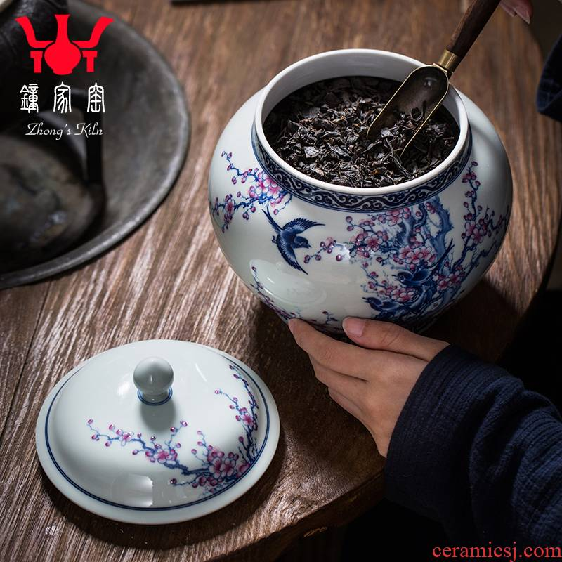 Clock home up caddy fixings jingdezhen ceramic pot of blue and white color bucket maintain the magpies name plum flower tea sealed jar size