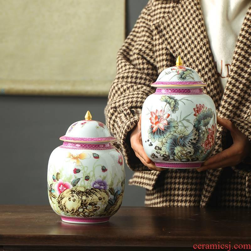 Jingdezhen ceramics powder enamel caddy fixings puer tea pot with cover Chinese famille rose tea storage tank tea