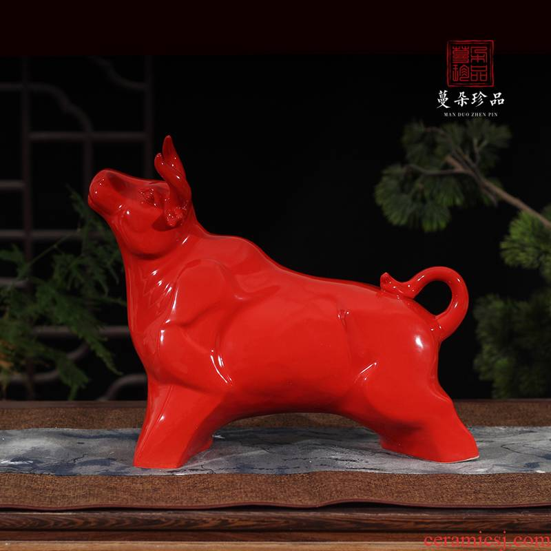 Jingdezhen up red porcelain ox endeavour China bull market red bull auspicious China raging bull