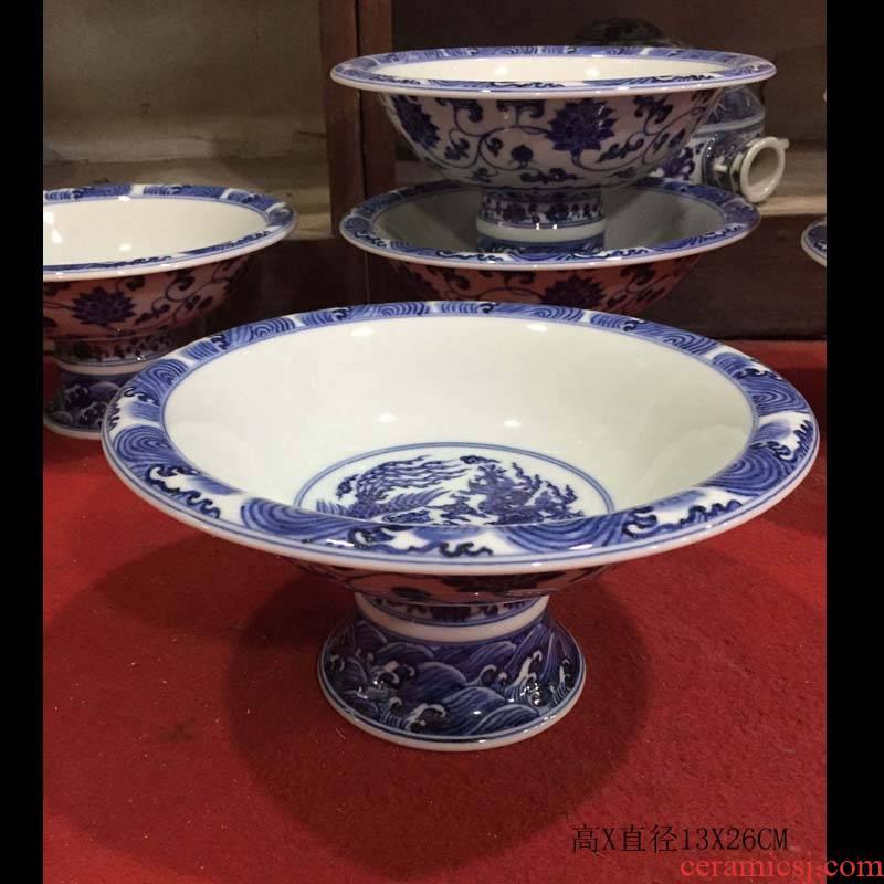 Jingdezhen hand - made 20 cm of of primitive simplicity compote Jingdezhen porcelain compote propitious grain porcelain bowl