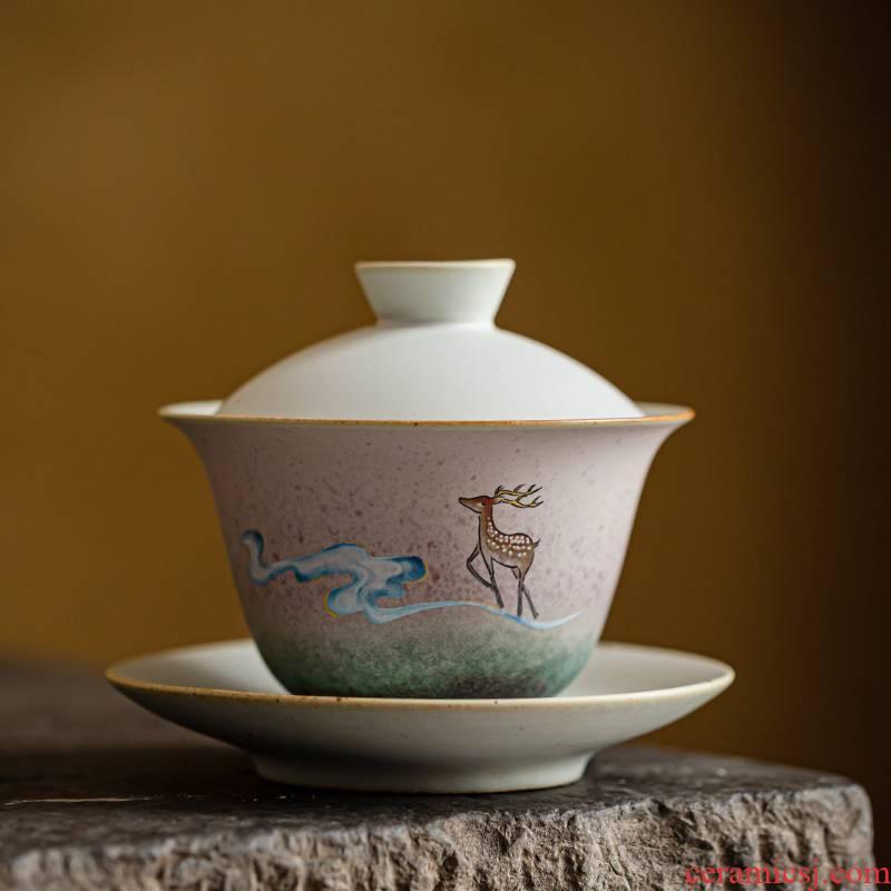 Japanese ceramics tureen decals xiangyun LuJing bowl tureen large family kung fu tea set variable to restore ancient ways