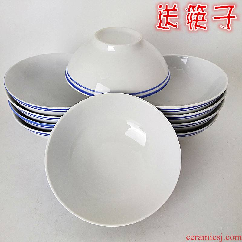 Hat to microwave bowl of soup bowl old bowl jingdezhen ceramic surface 6 blue edge of the old bowl bowl of rice