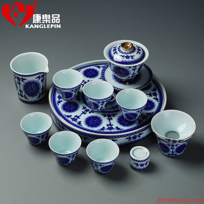 Recreational product set of 12 first 10 inch plate of a complete set of kung fu tea set household ceramics restoring ancient ways of blue and white porcelain cup teapot