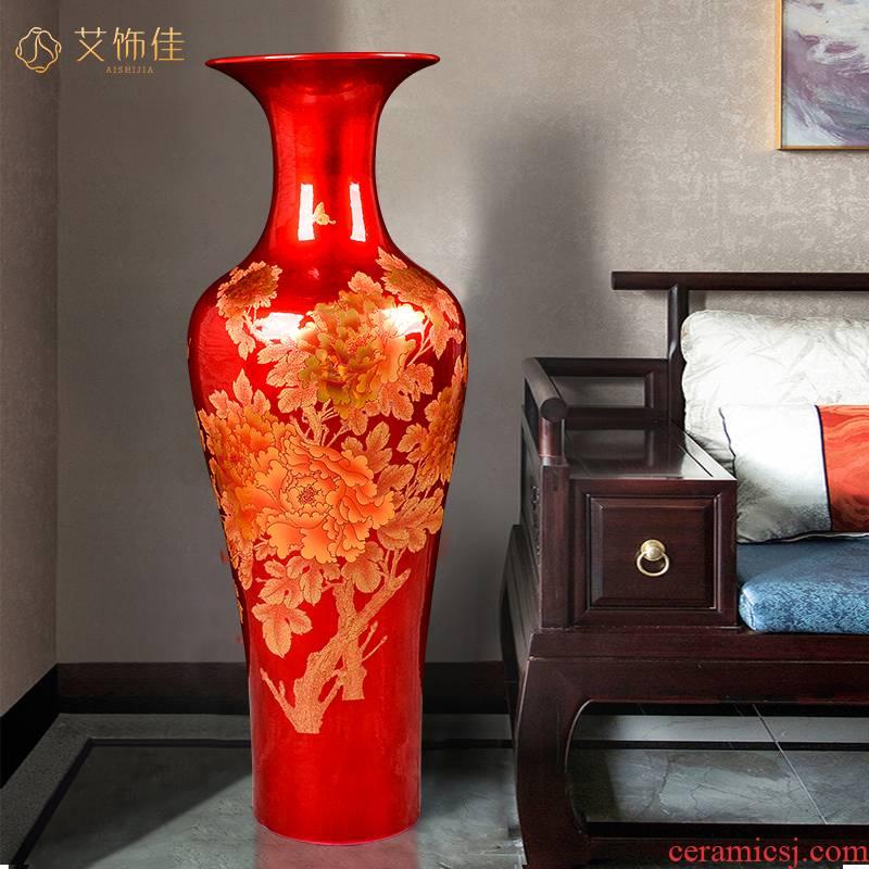 Jingdezhen ceramic large vases, crystal glaze peony flowers prosperous heavy TV ark, sitting room, the opened hotel furnishing articles