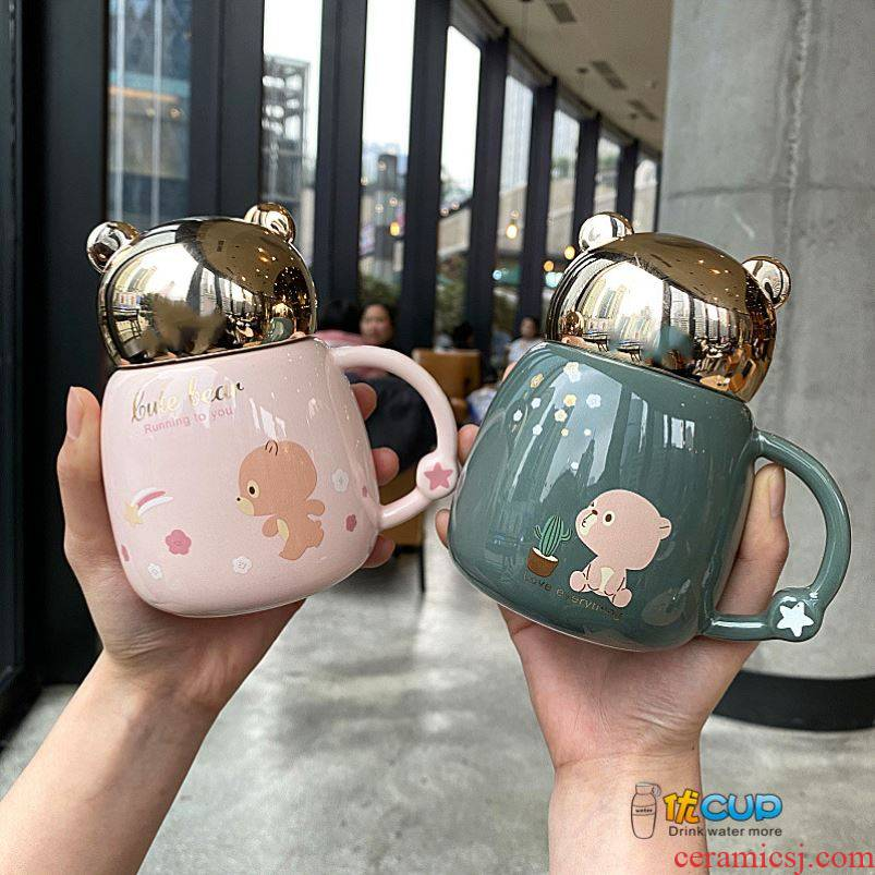 Super of express teddy bear ceramic cup with cover lens mugs girl heart pot - bellied milk coffee cup cup female students