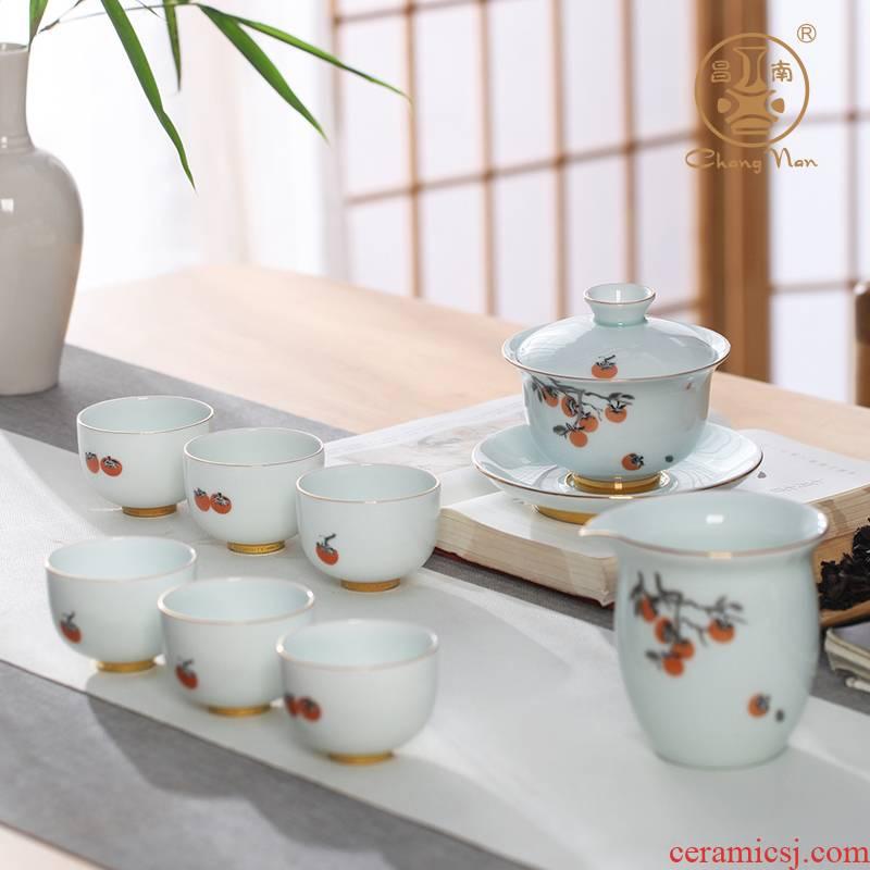 8 head Chang south ceramics jade porcelain paint pure tea set all the best suit tureen belt filter tea tea