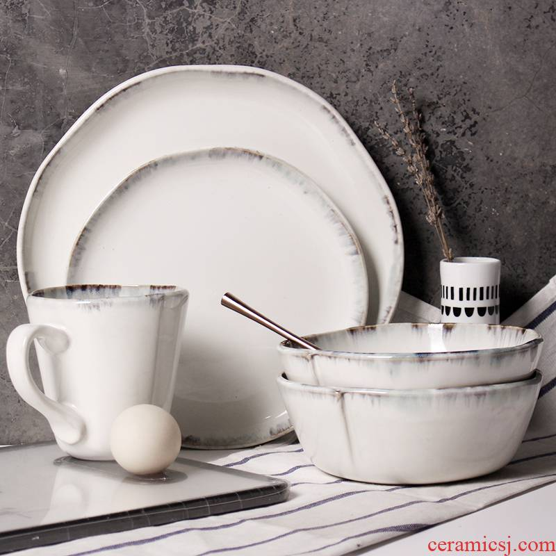 Nordic ceramic tableware suit home dishes cup combination retro hand - made abnormity western food dish vegetables salad bowl