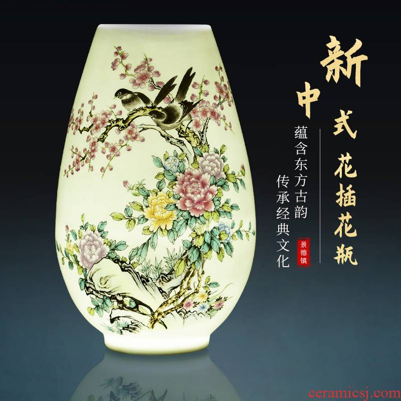 Jingdezhen ceramics small landscape f cylinder vases, flower arranging furnishing articles rich ancient frame the sitting room of Chinese style household ornaments