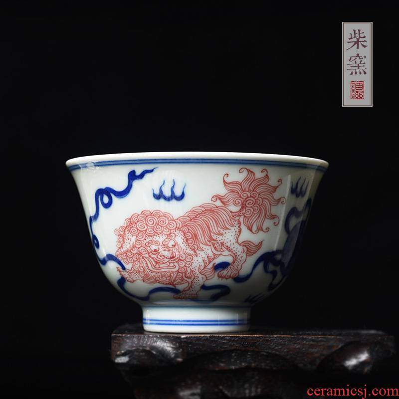 Hundreds of jingdezhen blue and white master cup single CPU hong maintain firewood teacups hand - made of red color sample tea cup double lion play ball