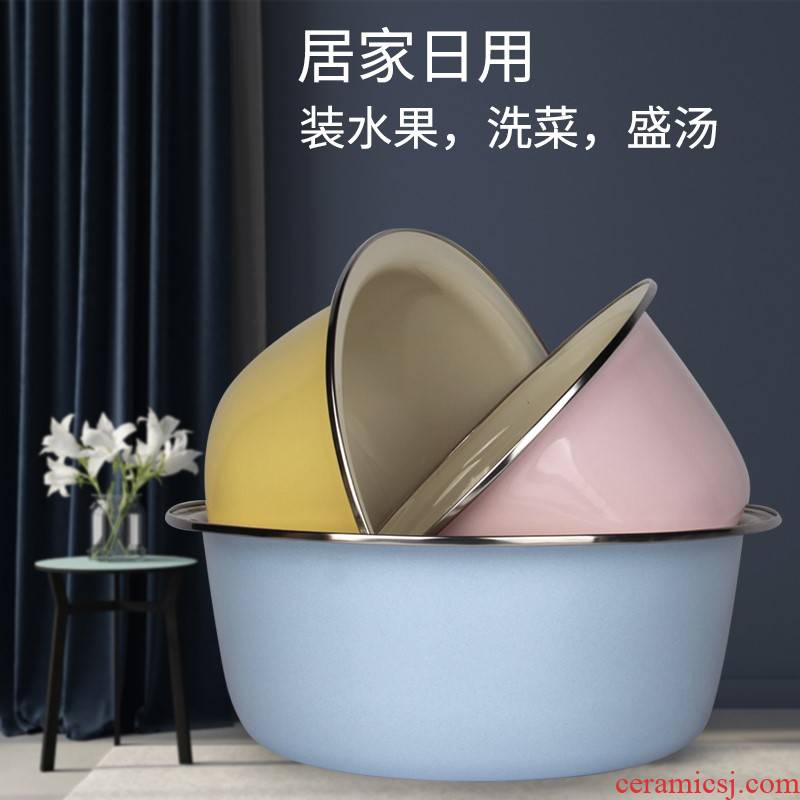 Thick enamel color enamel basin multi - purpose basin to deepen basin xiancai basins mixing bathtub cubicle and household porcelain basin