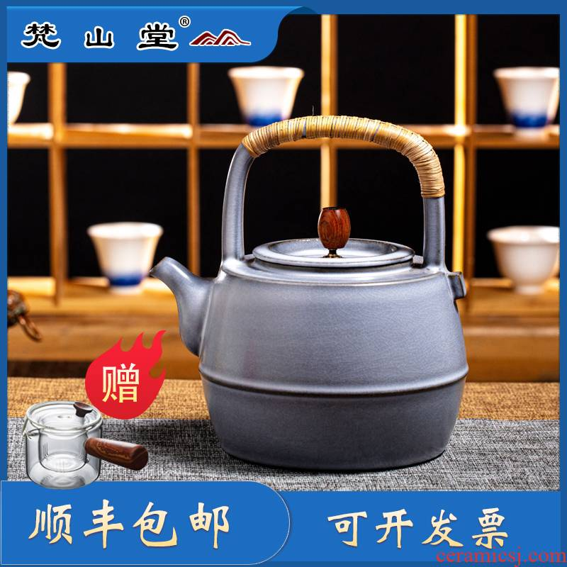 The Vatican hill hall soda glazed pottery pot of boiled tea teapot electric TaoLu jingdezhen white clay manual open piece of kung fu tea pot