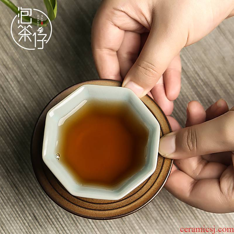 The Master cup kung fu tea your up single glass ceramic cups, cyan porcelain day can be a piece of ice to crack open glaze sample tea cup