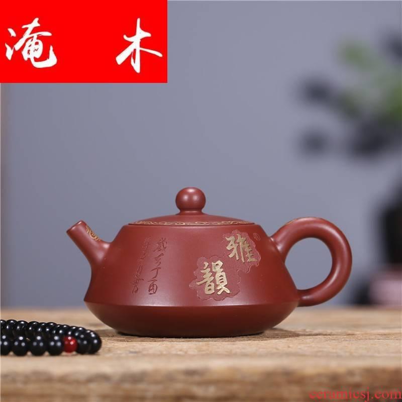 Submerged wood ladle yixing teapot undressed ore dahongpao paint pot it manual kung fu tea set