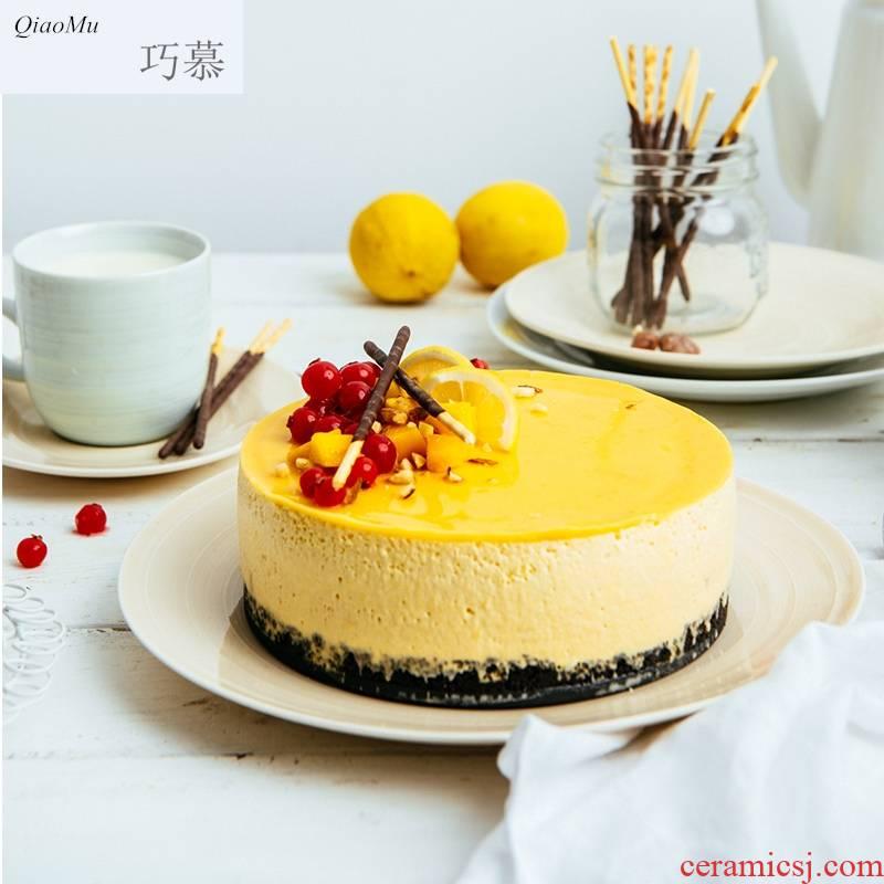 Qiam qiao mu household ceramics circular shallow dish dish dish European creative snack plate contracted plates posey town