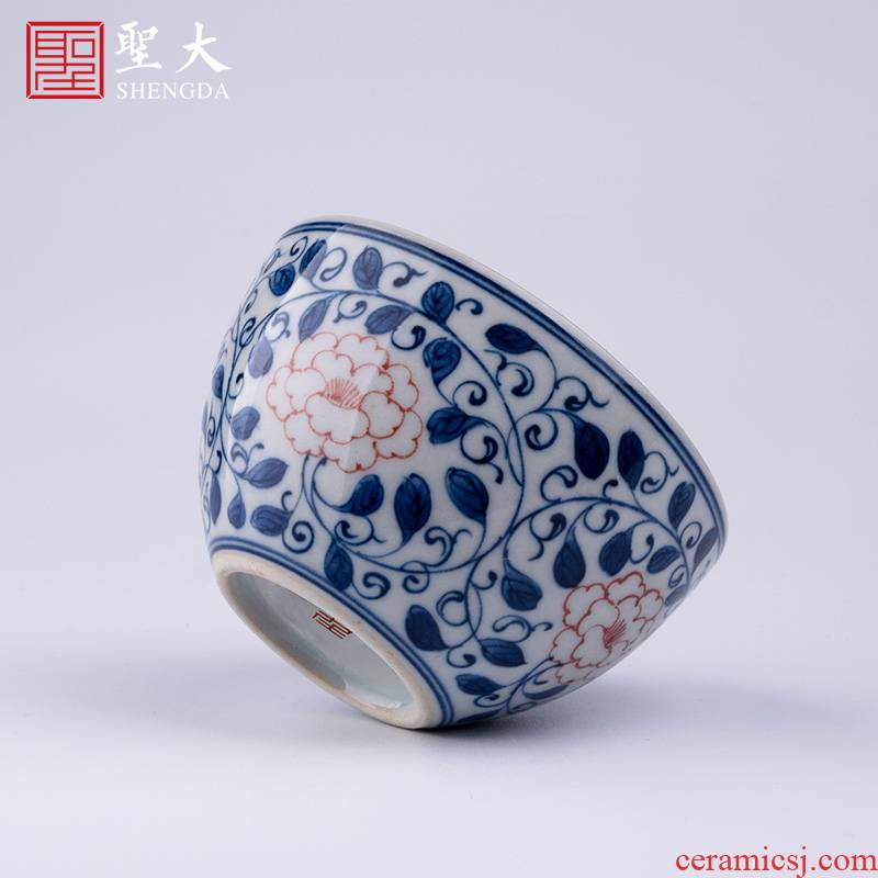 The big red color ceramic blue grass around branches uncluttered peony lines lie fa cup pure manual hand - made kung fu tea cups