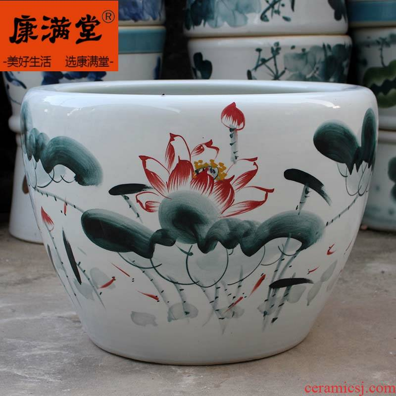 Water lily flower pot blue and white porcelain bowls LianHe flower pot tank of cycas rich tree flower pot courtyard extra - large ceramic cylinder