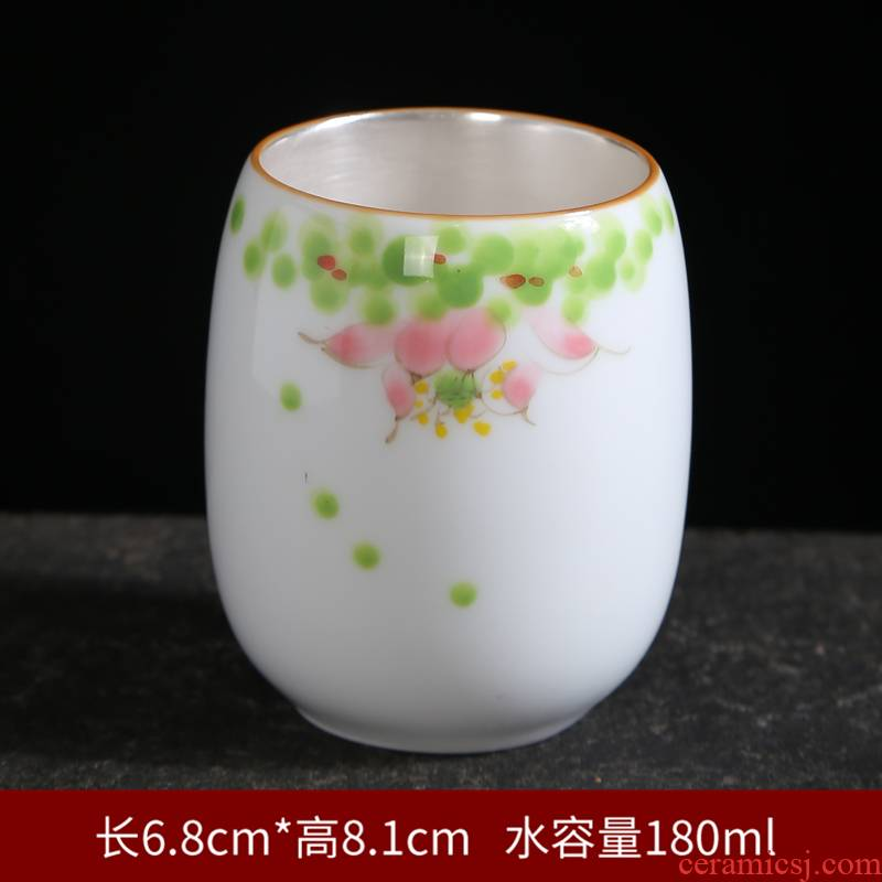 Tasted silver gilding hand - made master cup personal cup sample tea cup of blue and white porcelain ceramic kung fu tea cup set celadon your up