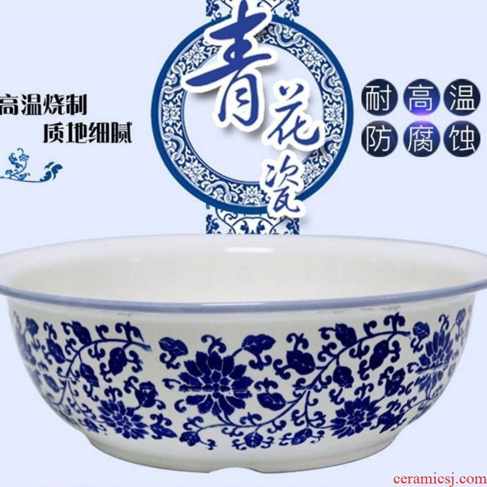 """Big blue and white and thickening basin ceramic household non - stick surface knead with cover basin non - stick surface """"hair old hair wash basin"""