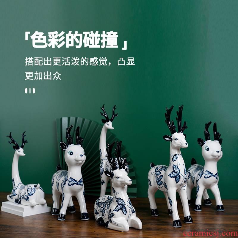 Ceramic sika deer furnishing articles creative gift sitting room TV ark, wine home decoration crafts home furnishing articles