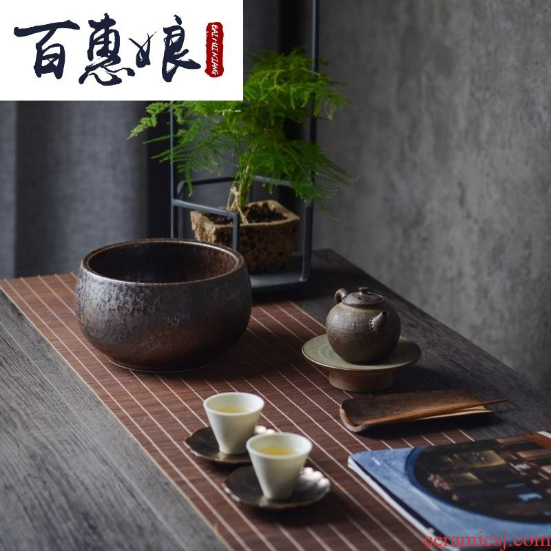 (niang large tea wash to wash to the jingdezhen up ceramic tiger stripes cup dross barrels of kung fu tea set by hand
