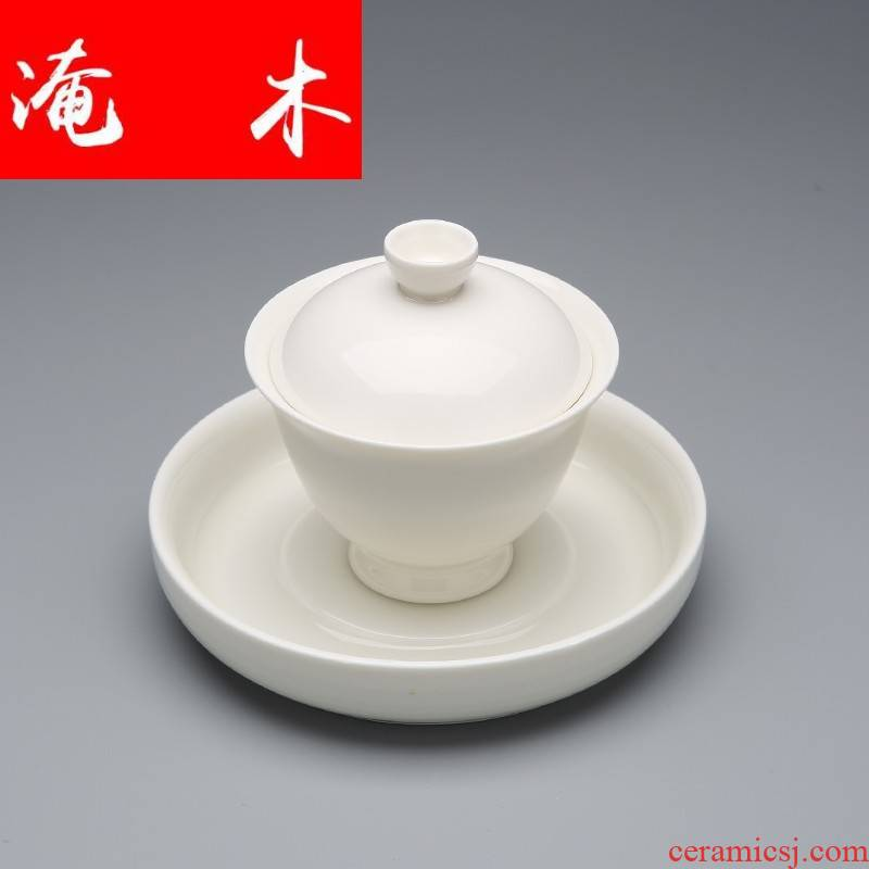 Flooded jingdezhen wood white jade porcelain only three tureen household contracted kung fu tea tea bowl of ceramic tea cups