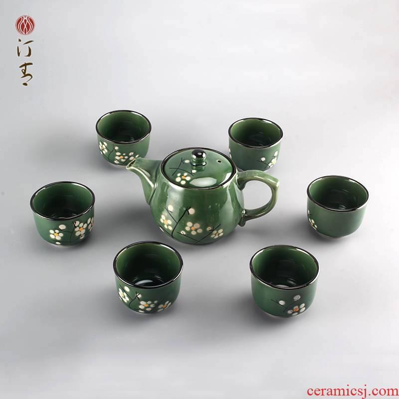 Seven hand - made tea set of ceramic tea set home tea gift set wedding gift box single pot of the teapot