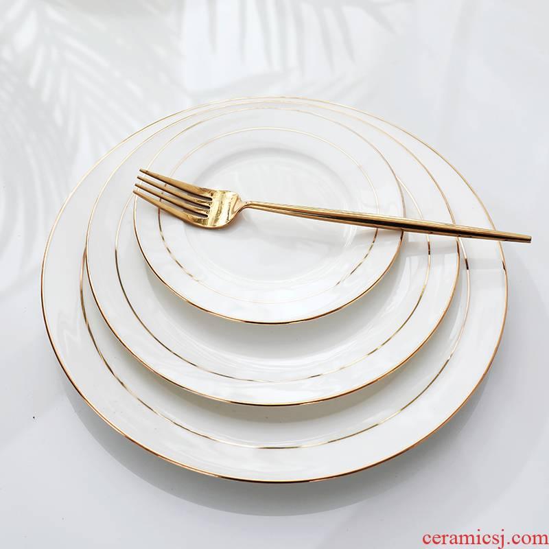 Jingdezhen ceramic plate disc home snack plate vomit ipads plate up phnom penh steak west pot plate of flat plate