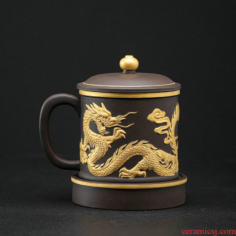 Violet arenaceous individual cup court relief office cup gift boxes large gold dragon wind separation tea cups of tea cups