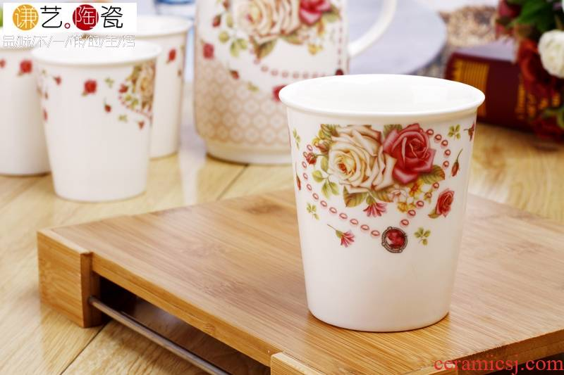 Qiao mu (design and color is random shipment, specify both please note of design and color, rose/primrose) ipads porcelain cup