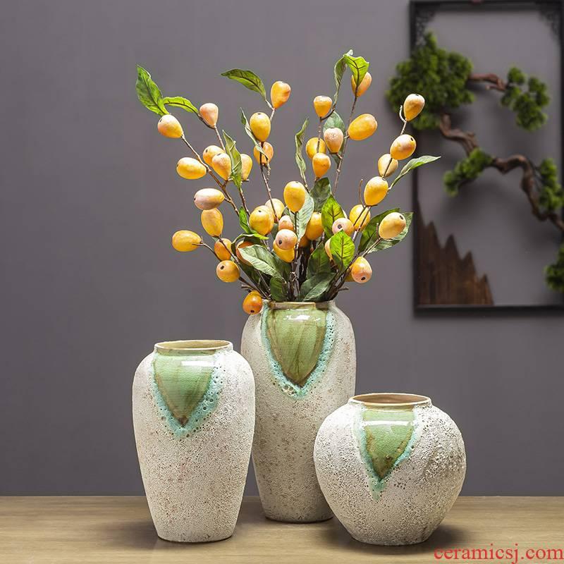 Jingdezhen ceramic floret bottle furnishing articles sitting room flower arranging retro rough some ceramic pot dry flower hydroponics vase flowerpot clearance