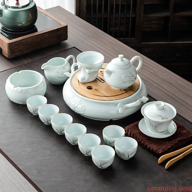 Japanese ceramics kung fu tea set suit household see colour tureen contracted dry tea teapot relief plate of a small set of gift box