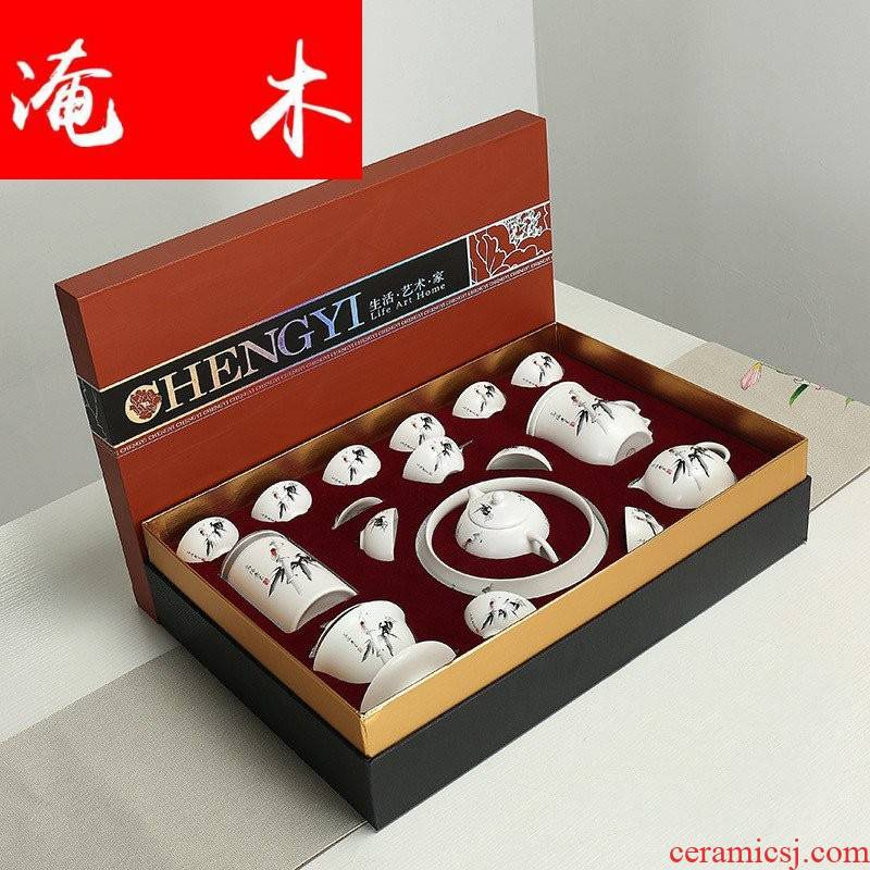 Submerged wood of a complete set of kung fu tea set household hand - made ceramic tureen tea cup teapot blue open box office