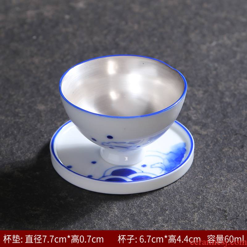 Tasted silver gilding hand - made kung fu tea set of blue and white porcelain ceramic cups of tea a single people with masters cup bowl sample tea cup