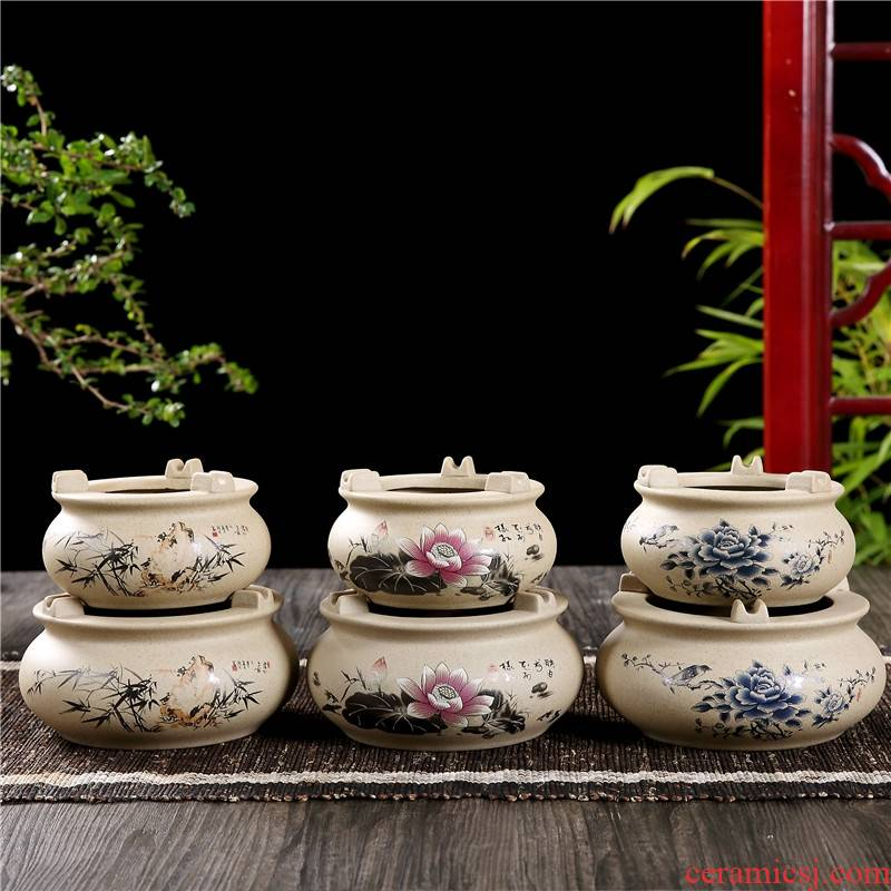 Qiao mu QGZ home office coarse pottery big bedroom ceramic ashtray ashtray sitting room tea table creative restoring ancient ways