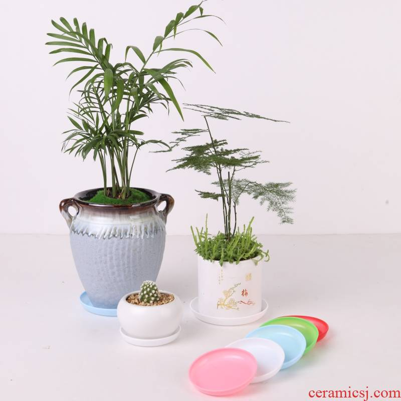 More meat round plastic flower pot tray square small receptacle base plate thickening special small as water bottom