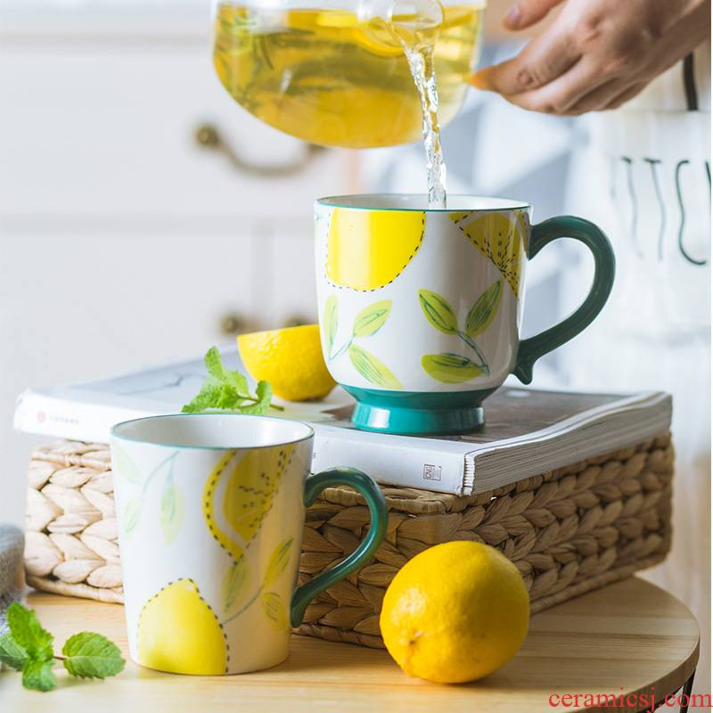 Nordic ins wind mark cup oatmeal for breakfast milk cup large capacity under the glaze color keller ceramic coffee cup lemon