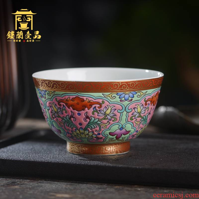 Jingdezhen ceramic all hand - made colored enamel master of kung fu tea tea cup personal single cups of tea bowl