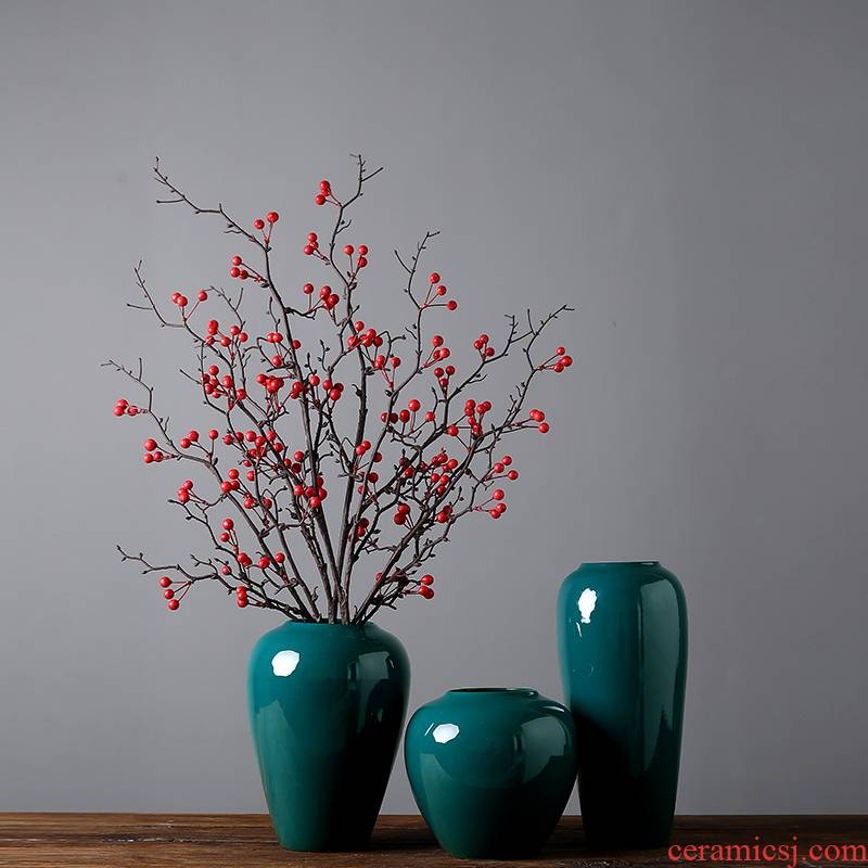 Jingdezhen modern checking ceramic crafts vase decoration in the sitting room porch TV cabinet table decorations furnishing articles