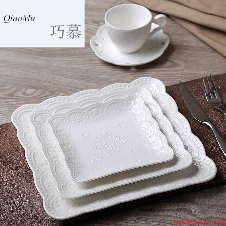 Qiao mu creative dinner plate tableware ceramic fruit bowl dish dish dish household compote steak disc dumplings plate plate