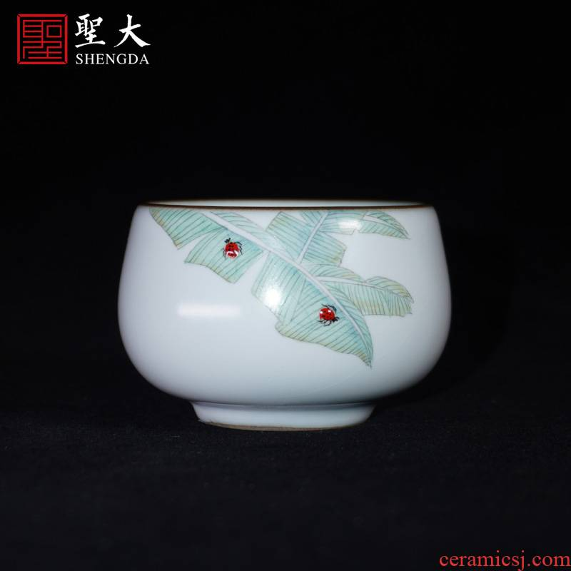 Holy big ceramic ru up market metrix one cup of pure manual new color hand - made jingdezhen tea cups kung fu tea cups sample tea cup