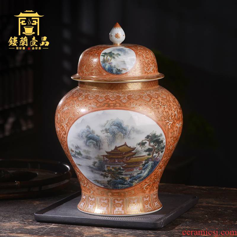 Jane hall alum spill red paint landscape caddy fixings jingdezhen ceramic hand - made seal pot any decoration collection furnishing articles