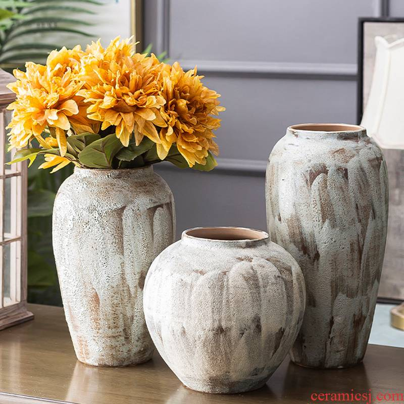 Jingdezhen ceramic vase coarse pottery dry flower arranging flowers restore ancient ways do old earthenware jar flower pot sitting room place soft decoration