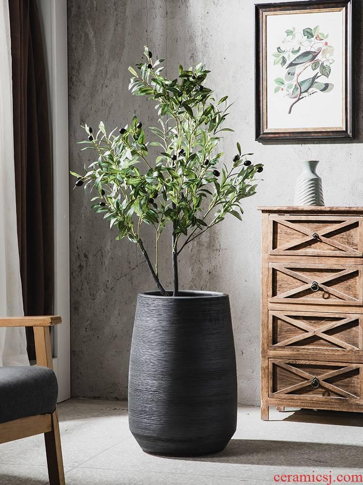 Northern wind ceramic flower pot household vase green plant hydroponic flower implement landing of large diameter cylinder oversized interior decoration