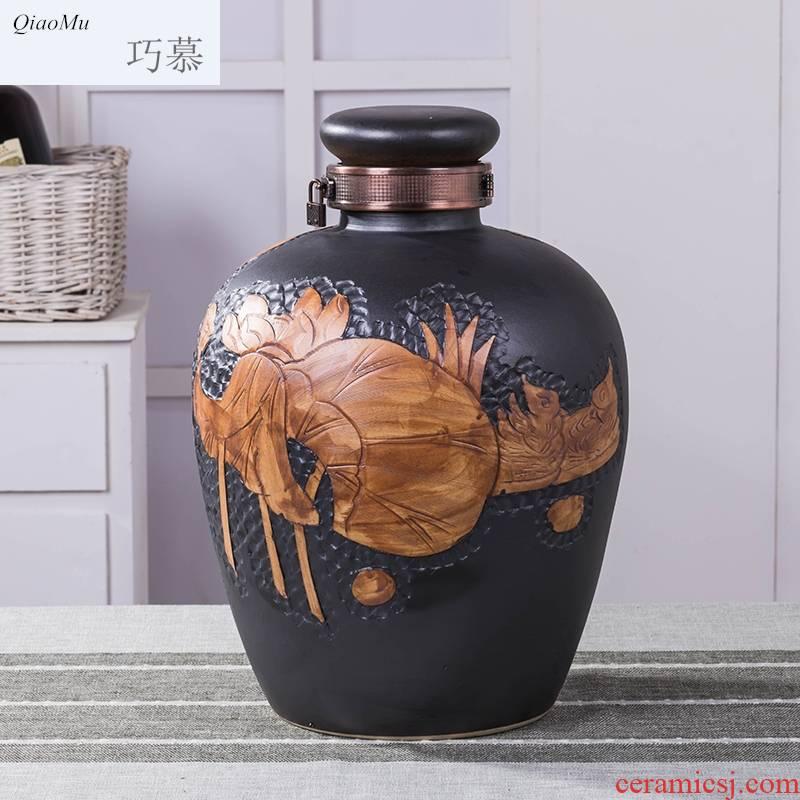 Qiao mu jingdezhen ceramic jars how it home 10 jins 20 jins to seal pot liquor wine jar